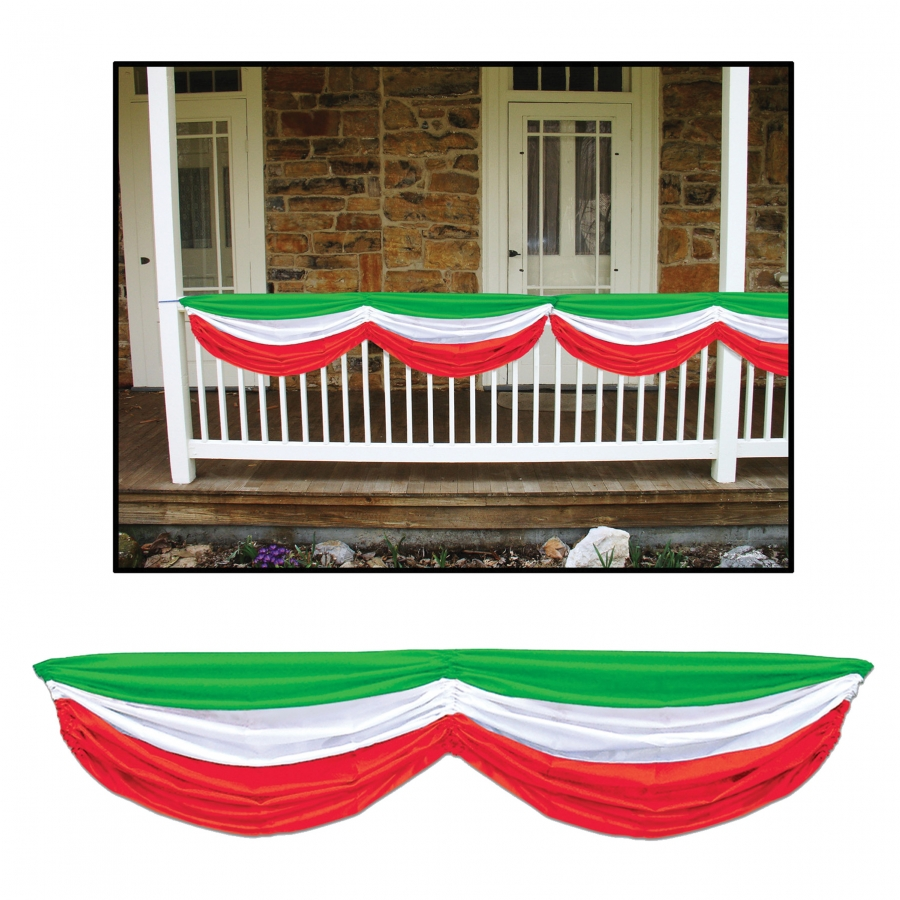 RED WHITE GREEN FABRIC BUNTING