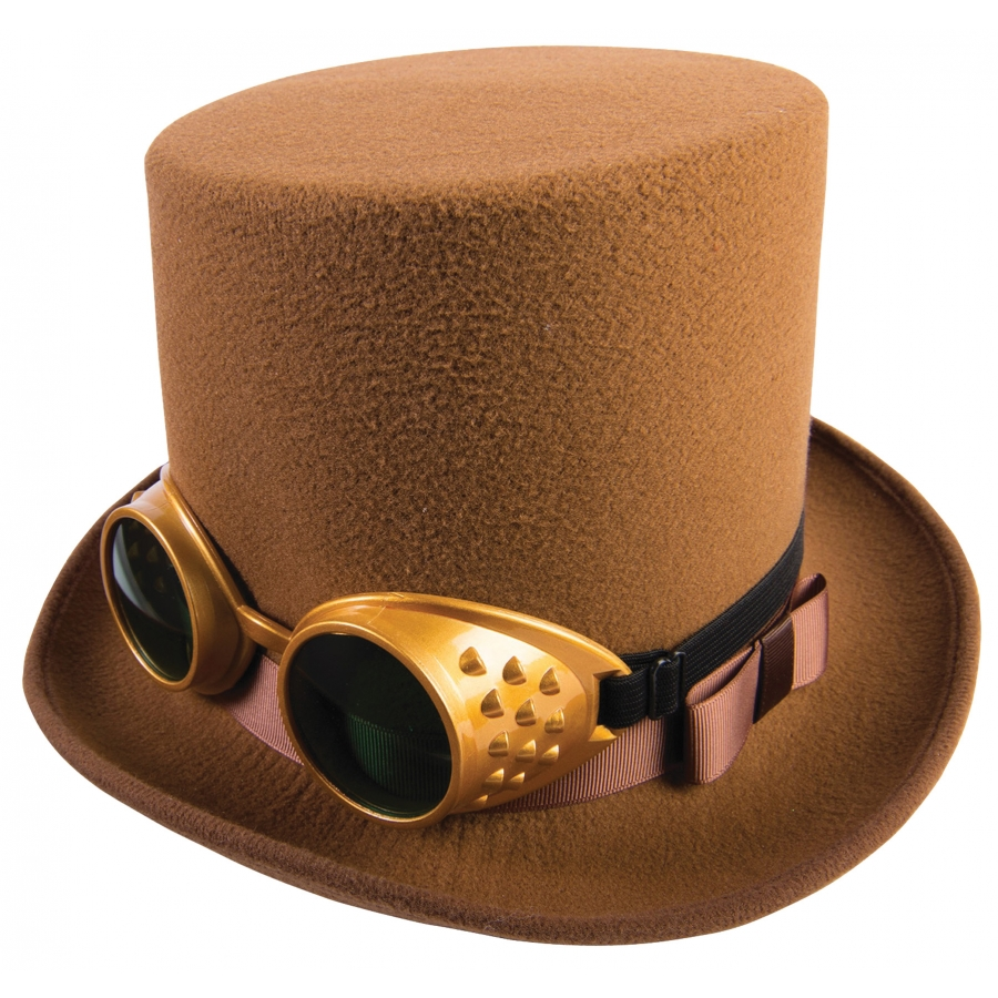 STEAMPUNK HAT WGOGGLES BROWN