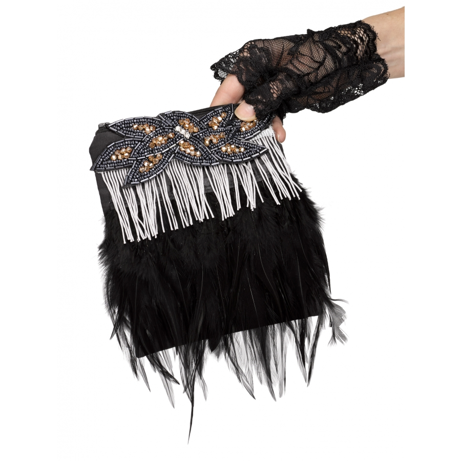 FLAPPER PURSE FRINGE FEATHER G