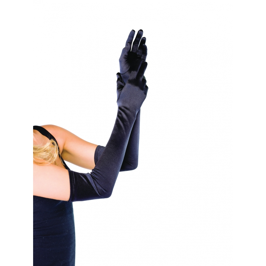 GLOVES SATIN LONG BLACK
