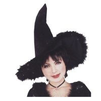 WITCH HAT W MARABOU TRIM