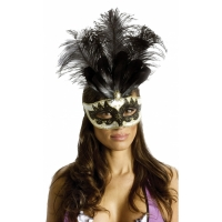 CARNIVAL MASK BIG FEATHR BKGD