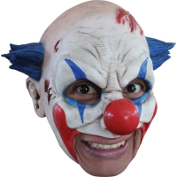CLOWN LATEX MASK W BLUE HAIR